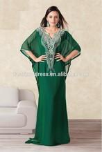 2014 New Arrive High Quality Straight Kaftan Evening Dress with Beading Irregular V-Neck Charming Kaftan Evening Dress