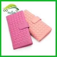 Fashion ladies purse advanced leather purse weave sheepskin wallet