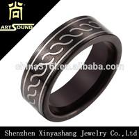 Wholesale black mens expandable wedding ring