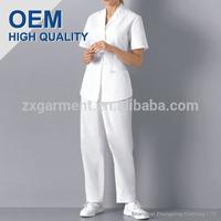 Designer Medical Scrubs Top with lapel collar 65/35 poly cotton