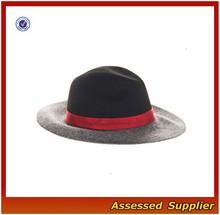 XJ0656/Women black fedora hat /black with red band fedora hat