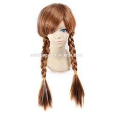 New Adult Children Frozen Anna Coronation Brown Wig Braid Full Hair Cosplay Wigs Hair QPWG-2153