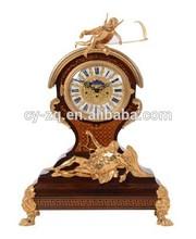 Angel bronze 24K gold plated wooden antique table clock,desk clock,office desk clock