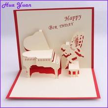 Handmade piano fairy laser cut 3d birthday greeting card