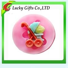 Mini Baby Pram Carriage Fondant Cake Silicone Soap Mold Decoration