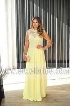 cap sleeve scoop neck chiffon back see through floor length yellow evening dress