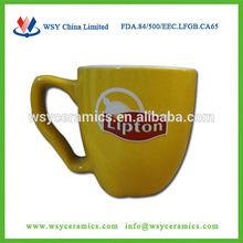 solid yellow color glaze promotional ceramic lipton mug for tea