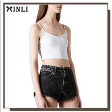 China Munufacturer Fashion Polyester Elasticity Plain White Woman Crop Top