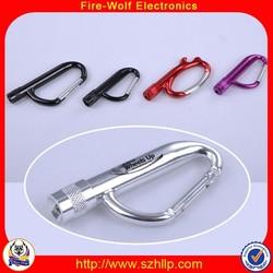 China popular souvenir customed aluminum alloy compass led carabiner hook