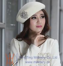 Womens Super Simple Elegant White/Orange Wool Felt Hats Pillbox Hat With Big Rhinestone Fascinators