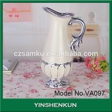 White Glaze Silver Plating Porcelain Vase Ceramic Pottery Clay Home Office Decoration Wedding Gift