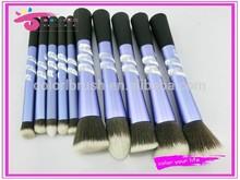 Wholesale personalized 10pcs long ferrule crystal cosmetic brush kit