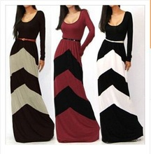 Mature and sexy contrast colors super long dress skinny party gown new arrival fashion evening dress women gown(M40015B)