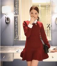 2014 women's clothing fashion Embroidery swan one piece dress(M40004B)