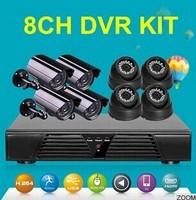 surveillance camera 8ch 720p cvi network board camera HDMI 1 Mp 4 indoor dome and 4 outdoor bullet camera hd system kit