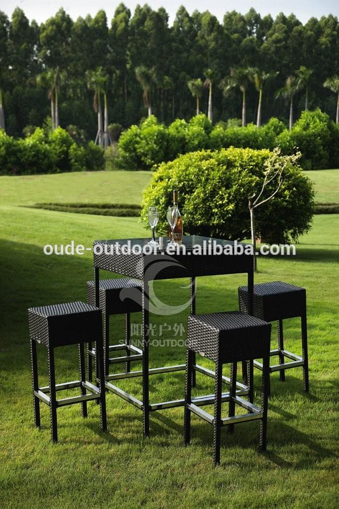 Cheap Outdoor Bar Sets High Leg Rattan Bar Chair Barstool