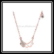 Fashion Christmas Gift Gold Angel Wings Rhinestone Pendant Necklace Jewelry Friendship MGJ0149