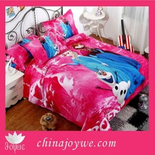 Pure Natural High Quality Cotton Bedroom Set,3D Cartoon Kids Frozen Elsa Anna Comforter Duvet Bedding Set Quilt Cover Sheet