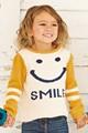La diversión amarillo color crudo' sonrisa' intarsia suéters de punto para bebés