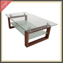 Modern living room furniture centre tempered glass coffee table CT007