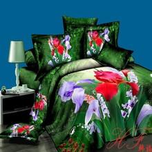 2015 Spring style pure cotton reactive print 3d duvet cover set 4pcs for home