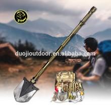 Outdoor Multifunction Equipment Camping&Hiking Folding Survival Golden Long Metal Handle Shovel as Hoe,Saw,Hammer Tool