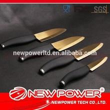 4pcs black handle 4'' 5'' 6'' ceramic santoku pineapple eye remover knife