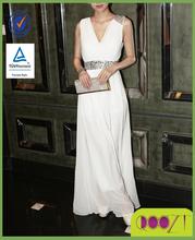 2015 Evening Dress New Arrival White Chiffon Backless Evening Long Dress