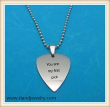 High quality stainless steel Guitar Pick Necklace with you are my first pick Engraved guitar necklace for man