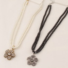 N1063 Free shipping Fashion Jewelry Wholesale Pearl Rhinetone Alloy Flower Pendant Black White Pearl Necklace For women