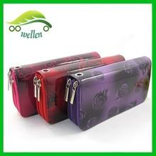 2015 latest fashion women wallet rose printed ladies purse double zipper PU leather purse