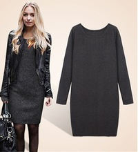 Long sleeve hint thin fairy larger size skinny dress pure colour ladies clothing fashion qualified one piece dress(M40026B)