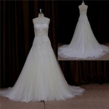Stunning hem lace wedding dress 2012 organza and tulle
