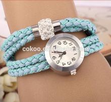 10 Colors Women's Silvery Case Long Rope Watch Quartz Analog Wrist Watch with Shamballa Bead