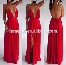 2015 New Arrival Sexy Red Spaghetti Strap Long Backless Chiffon Side Slit Cheap Summer Prom Dress Women JPD162