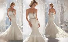 2014 Elegant Vestido De Noiva Sweetheart Nature Floor-Length Beading Lace Mermaid Wedding Dresses Custom Made Sexy Bride Dress J
