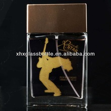 100ml square man perfume glass empty bottle with label printing and cap pump sprayer for europe