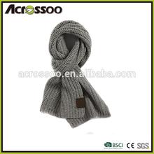 Fashion wool plain floppy knitting winter scarf,acrylic thick custom label knitting scarf