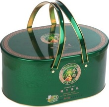 Metal tin round box with handle
