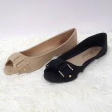 Fashion latest design Shiny flat comfy Piscine mouth shoe Peep Toes shoes women flat casual shoes