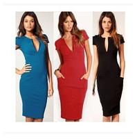 Elegant sexy V- neck sexy pure colors blending women's ladies clothing fashion one piece dress(M40029B)