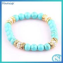 2015 fashion jewelry gemstone bead bracelet turquoise bracelet shamballa bracelet