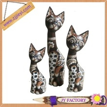 Best popular cheap products sitting cat wood carving set hand carved wooden cat wood craft