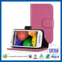 C&T PU Leather Flip Folio Protective Wallet Purse Case Cover for Moto E