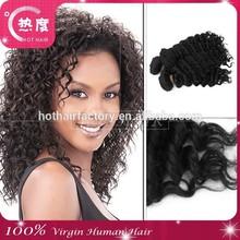 Super quality wholesale human hair extension deep curl Brazilian off black
