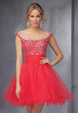 2015 New Fashion Sexy Red Luxury Beading Off the Shoulder Floor Length Evening Dress