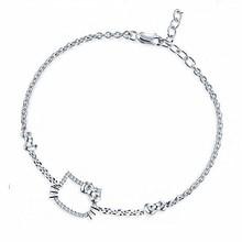 cat 925 pulseira de prata esterlina da forma de gato em forma de pulseira de prata