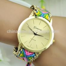 2014 Geneva Braid Strape Watches Fashion Quartz Clock The New Handmade Woven Rope Bracelet Watch Geneva Ladies Watches Wholesale
