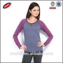 long sleeve blank cotton t shirt woman fashion 2014 cheap two color tee shirt blank