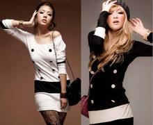 Alibaba China hotsale ladies dresses long sleeve new elegant woman Korean dress